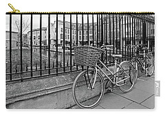 Carry-all Pouch featuring the photograph Bicycles On Magdalene Bridge Cambridge In Black And White by Gill Billington