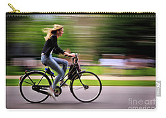 Carry-all Pouch featuring the photograph Bicycling Woman by Craig J Satterlee