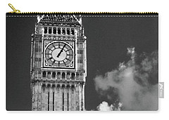 Big Ben And Clouds Bw Carry-all Pouch