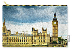 Big Ben And Houses Of Parliament With Thames River Carry-all Pouch