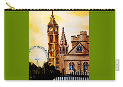 Big Ben And London Eye - Art By Dora Hathazi Mendes Carry-all Pouch by Dora Hathazi Mendes