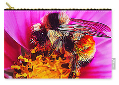 Big Bumble On Pink Carry-all Pouch by ABeautifulSky Photography