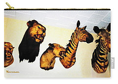 Big Game Africa - Zebras And Lions Carry-all Pouch by Sadie Reneau