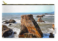 Carry-all Pouch featuring the photograph Big Rocks In Grey Water Painting by Barbara Snyder
