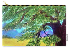 Carry-all Pouch featuring the painting Big Tree In Meadow by Sonya Nancy Capling-Bacle