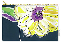 Carry-all Pouch featuring the mixed media Big Yellow Flower- Art By Linda Woods by Linda Woods