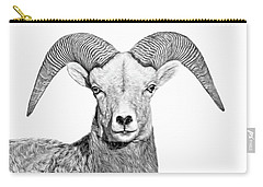 Carry-all Pouch featuring the photograph Bighorn Sheep Ram Black And White by Jennie Marie Schell