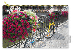 Carry-all Pouch featuring the photograph Bike And Flowers by Therese Alcorn