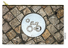 Bike Path Sign On A Cobblestone Pavement Carry-all Pouch