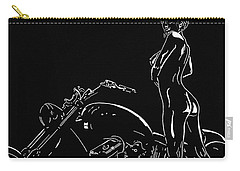Carry-all Pouch featuring the drawing Biker Biach by Mayhem Mediums