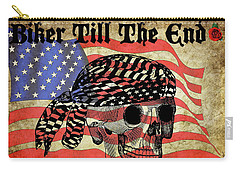 Biker Skull American Flag Old Paper Art Carry-all Pouch
