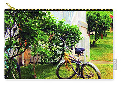 Carry-all Pouch featuring the painting Bikes In The Yard I I by Desiree Paquette