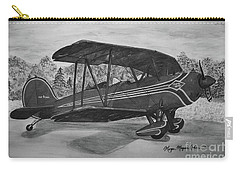 Biplane In Black And White Carry-all Pouch