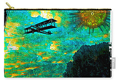 Carry-all Pouch featuring the digital art Biplane by Iowan Stone-Flowers