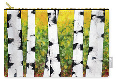 Carry-all Pouch featuring the mixed media Birch Forest Trees by Christina Rollo