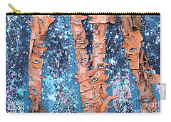 Carry-all Pouch featuring the mixed media Birch Trees With Eyes by Genevieve Esson