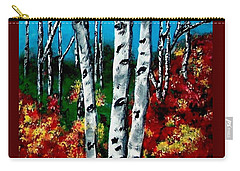 Carry-all Pouch featuring the painting Birch Woods 2 by Sonya Nancy Capling-Bacle