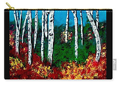 Carry-all Pouch featuring the painting Birch Woods by Sonya Nancy Capling-Bacle