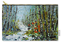 Birches Near Waterfall Carry-all Pouch by AmaS Art