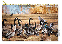 Carry-all Pouch featuring the photograph Bird Gang Wars by Sumoflam Photography