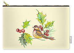 Bird Holly And Berries Carry-all Pouch