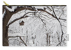 Bird House In Snow Carry-all Pouch