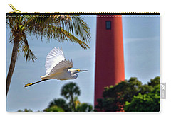 Bird In Flight Under Jupiter Lighthouse, Florida Carry-all Pouch by Justin Kelefas