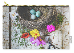 Carry-all Pouch featuring the photograph Bird Nest With Blue Bird Eggs Beauty by Anna Louise