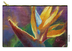 Carry-all Pouch featuring the painting Bird Of Paradise - Tropical Hawaiian Flowers by Karen Whitworth