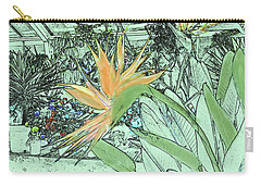 Carry-all Pouch featuring the photograph Bird Of Paradise In The Hothouse by Nareeta Martin