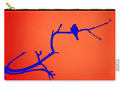 Carry-all Pouch featuring the photograph Bird On A Branch At Sunset by Donna Bentley
