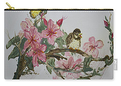Carry-all Pouch featuring the painting Bird On Blossoms by Avonelle Kelsey