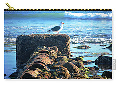Bird On Perch At Beach Carry-all Pouch