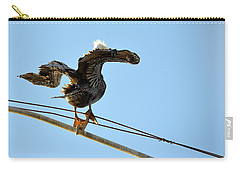 Carry-all Pouch featuring the photograph Bird On The Wire by AJ Schibig