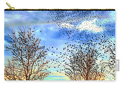 Bird Swarms Versus Hawks On The Prairie Carry-all Pouch