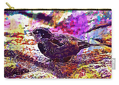 Carry-all Pouch featuring the digital art Bird The Sparrow Nature Pen  by PixBreak Art