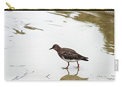 Carry-all Pouch featuring the photograph Bird Walking On Beach by Mariola Bitner
