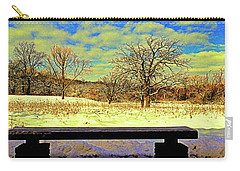 Bird Watchers Bench Winter Crabtree Nature Center Cook County Il Carry-all Pouch