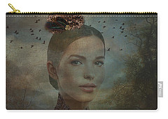 Carry-all Pouch featuring the digital art Birder by Nola Lee Kelsey