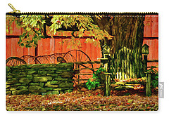 Carry-all Pouch featuring the photograph Birdhouse Chair In Autumn by Jeff Folger
