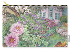Birds And Bunnies In Cottage Garden Carry-all Pouch