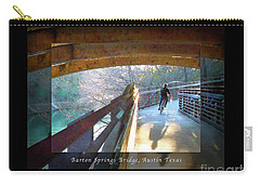 Birds Boaters And Bridges Of Barton Springs - Bridges One Greeting Card Poster V2 Carry-all Pouch by Felipe Adan Lerma