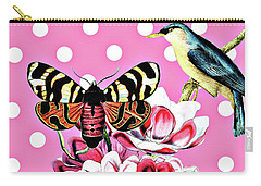 Birds, Flowers Butterflies And Polka Dots Carry-all Pouch