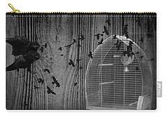 Birds Gone Wild In Black And White Carry-all Pouch by Suzanne Powers