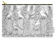 Birds In Flower Garden Coloring Page Carry-all Pouch
