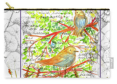 Carry-all Pouch featuring the painting Bluebirds Nature Collage by Cathie Richardson