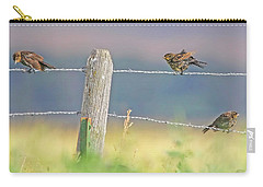 Carry-all Pouch featuring the photograph Birds On A Barbed Wire Fence by Jennie Marie Schell