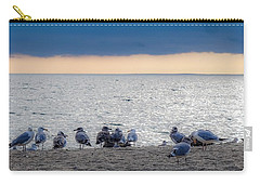 Carry-all Pouch featuring the photograph Birds On A Beach by Kendall McKernon