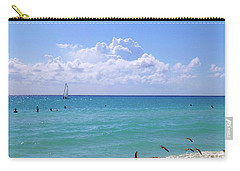 Carry-all Pouch featuring the photograph Birds On The Beach M4 by Francesca Mackenney