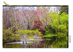 Carry-all Pouch featuring the photograph Birds Playing In The Pond 3 by Madeline Ellis